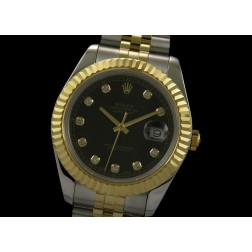 Replica Rolex Datejust II Men Watch Two Tone Case Black Dial Diamond Numerals 41mm SRDJ015
