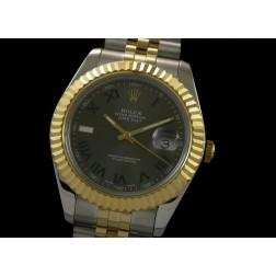 Replica Rolex Datejust II Men Watch Two Tone Case Grey Dial 41mm Jubilee Bracelet SRDJ021