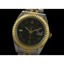 Replica Rolex Datejust II Men Watch Black Dial Roman Numerals 41mm Jubilee Bracelet SRDJ022