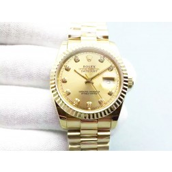 Replica Rolex Datejust Men Watch 36mm 18k Yellow Gold Case Diamond Numerals SRDJ101