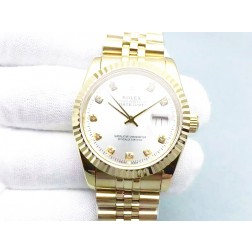 Replica Rolex Datejust Men Watch 36mm 18k Yellow Gold Case Silver Dial Diamond Numerals SRDJ102