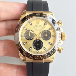 Swiss Replica Rolex Daytona 116518LN Yellow Gold Case and Dial Ceramic Bezel 1:1 Mirror Quality SRDT113