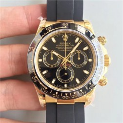 Swiss Replica Rolex Daytona M116518LN-0035 Yellow Gold Case Black Dial Ceramic Bezel 1:1 Mirror Quality SRDT115