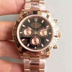 Swiss Made Replica Rolex Daytona 116505-78595Rose Gold Case Black Dial 1:1 Mirror Quality  SRDT121