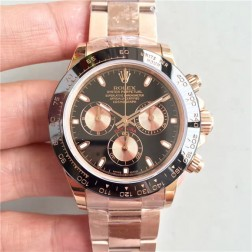 Swiss Made Replica Rolex Daytona 116515LN Rose Gold Case Black Dial Ceramic Bezel 1:1 Mirror Quality SRDT122