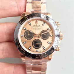 Swiss Made Replica Rolex Daytona 116515LN Rose Gold Case and Dial Ceramic Bezel 1:1 Mirror Quality SRDT123