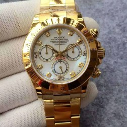 Swiss Replica Rolex Daytona 116528-78598 Yellow Gold Case Mother of Pearl Dial with Diamonds 1:1 Mirror Quality SRDT124