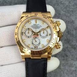 Swiss Replica Rolex Daytona 116528-78598 Yellow Gold Case Mother of Pearl Dial with Diamonds 1:1 Mirror Quality SRDT125