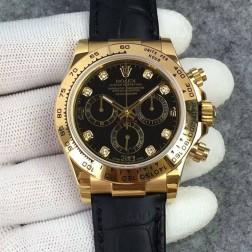 Swiss Replica Rolex Daytona 116508 Yellow Gold Case Black Dial with Diamonds 1:1 Mirror Quality SRDT126
