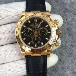 Swiss Replica Rolex Daytona 116508 Yellow Gold Case Black Dial 1:1 Mirror Quality SRDT127