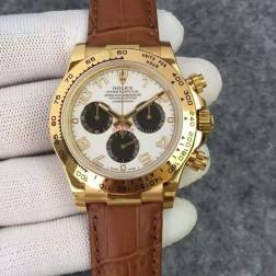 Swiss Replica Rolex Daytona Yellow Gold Case White Dial with Arabic 1:1 Mirror Quality SRDT128