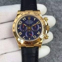 Swiss Replica Rolex Daytona 116518 Yellow Gold Case Blue Dial with Arabic 1:1 Mirror Quality SRDT129