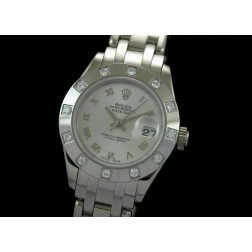 Replica Rolex Masterpiece Ladies Watch Silver Dial Diamonds Bezel Swiss Movement SRMP001