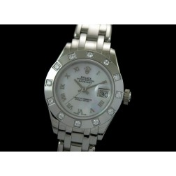 Replica Rolex Masterpiece Ladies Watch White Mother of Pearl Dial Diamonds Bezel SRMP002