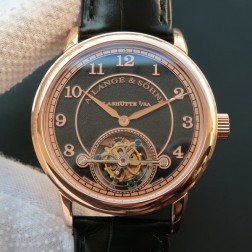 Top End Swiss 1:1 Mirror Replica A Lange & Sohne 1815 Tourbillon Rose Gold Watch Black Sandblasted Dial SAL022