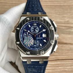 Replica Audemars Piguet Royal Oak Offshore Watch Titanium Case Carbon Fiber Bezel Blue Dial SAPO051