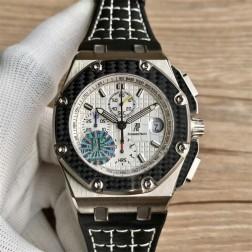Replica Audemars Piguet Royal Oak Offshore Watch Titanium Case Carbon Fiber Bezel White Dial SAPO052