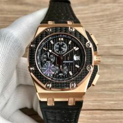 Replica Audemars Piguet Royal Oak Offshore Watch Rose Gold Case Carbon Fiber Bezel 45mm SAPO053