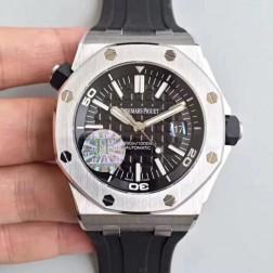 Replica Audemars Piguet Royal Oak Offshore Diver Watch Black Dial Black Rubber Strap 42mm SAPO054