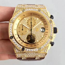 Audemars Piguet Royal Oak Offshore 18k Yellow Gold with Diamonds Case and Dial Swiss Made 1:1 Mirror Replica SAPO056