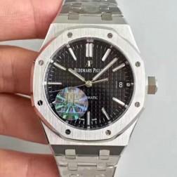 2015 New Style Replica Audemars Piguet Royal Oak Black Dial 41mm with Genuine Swiss Movement SAPR106
