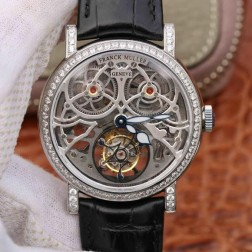 Best 1:1 Mirror Replica Franck Muller GIGA Watch Silver Skeleton Dial Swiss Made SFR002