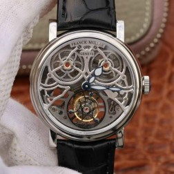 Best 1:1 Mirror Replica Franck Muller GIGA Tourbillon  Watch Silver Skeleton Dial Swiss Made SFR003