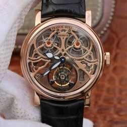 Best 1:1 Mirror Replica Franck Muller GIGA Tourbillon Watch Rose Gold Skeleton Dial Swiss Made SFR004