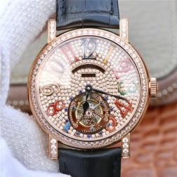 Best 1:1 Mirror Replica Franck Muller Tourbillon Rose GoldWatch Black Diamond Dial Swiss Made SFR006