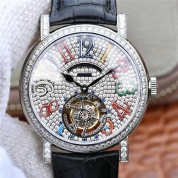 Best 1:1 Mirror Replica Franck Muller Tourbillon Watch Black Diamond Dial Swiss Made SFR007