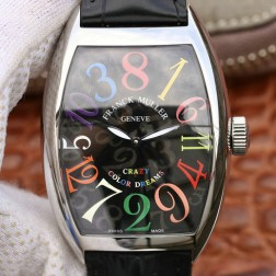 Best 1:1 Mirror Replica Franck Muller Crazy Hours 8880 Watch Black Dial With Colorful Numerals SFR013