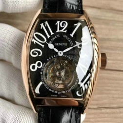 Top 1:1 Mirror Replica Franck Muller 8880 Rose Gold Watch Black Dial with Tourbillon Swiss Made SFR016