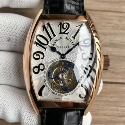 Top 1:1 Mirror Replica Franck Muller 8880 Rose Gold Watch White  Dial with Tourbillon Swiss Made SFR017