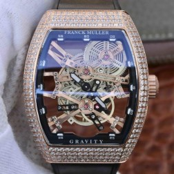 Best 1:1 Mirror Replica Franck Muller Gravity Rose Gold Watch Skeleton Dial Swiss Made SFR018