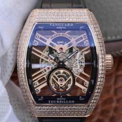 Best 1:1 Mirror Replica Franck Muller Vanguard Tourbillon Skeleton Watch Rose Gold SFR020
