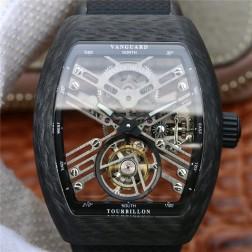 Best 1:1 Mirror Replica Franck Muller Vanguard Tourbillon Skeleton Watch Carbon Case Swiss Movement SFR022