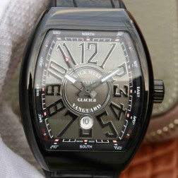Best 1:1 Mirror Replica Franck Muller Vanguard Yachting Watch PVD Black Case Grey Dail Swiss Made SFR030