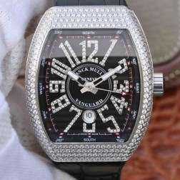 Best 1:1 Mirror Replica Franck Muller Vanguard Yachting Watch Diamonds Case Black Dail Swiss Made SFR032