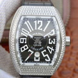 Best 1:1 Mirror Replica Franck Muller Vanguard Yachting Watch Diamonds Case Black Dail Swiss Made SFR034