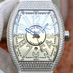 Best 1:1 Mirror Replica Franck Muller Vanguard Yachting Watch Diamonds Case White Dail Swiss Made SFR035