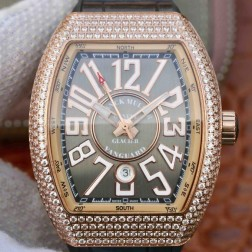 Best 1:1 Mirror Replica Franck Muller Vanguard Yachting Watch Diamonds Rose Gold Case Grey Dail SFR036