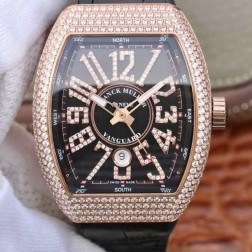 Best 1:1 Mirror Replica Franck Muller Vanguard Yachting Watch Diamonds Rose Gold Case Black Dail SFR037