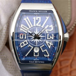 1:1 Mirror Best Replica Franck Muller Vanguard Yachting Watch Blue Dial Swiss Made SFR038