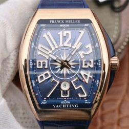 1:1 Mirror Best Replica Franck Muller Vanguard Yachting Rose Gold Watch Blue Dial Swiss Made SFR039
