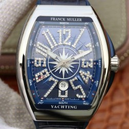 1:1 Mirror Best Replica Franck Muller Vanguard Yachting Watch Blue Dial Swiss Made SFR040