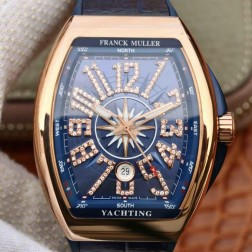1:1 Mirror Best Replica Franck Muller Vanguard Yachting Rose Gold Watch Blue Dial Swiss Made SFR041