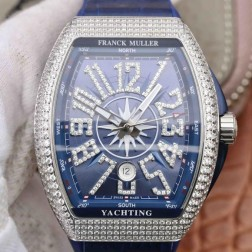1:1 Mirror Best Replica Franck Muller Vanguard Yachting Watch Diamonds Bezel Swiss Made SFR042