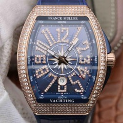1:1 Mirror Best Replica Franck Muller Vanguard Yachting Rose Gold Watch Diamonds Bezel Swiss Made SFR043