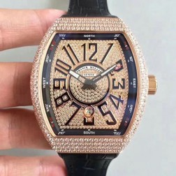 Best 1:1 Mirror Replica Franck Muller Vanguard Watch Diamonds Rose Gold Case Diamonds Dail SFR044