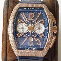 1:1 Mirror Best Replica Franck Muller Vanguard Yachting Watch Diamonds Case Blue Dial Swiss Made SFR049